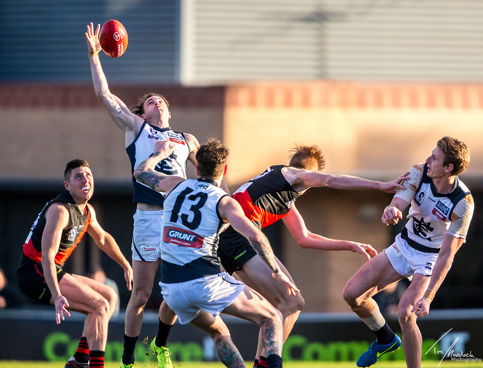 Saturday 15 July 2017<br /> <br /> 2017 Peter Jackson VFL Preseason<br /> <br /> Essendon Bombers vs Northern Blues<br /> Windy Hill Oval<br /> <br /> #PJVFL #WeMarchNorth<br /> <br /> Photo Credit: Tim Murdoch/Tim Murdoch Photography