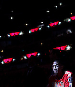 Chicago Bulls point guard Derrick Rose (1) waits to be introduced before the Chicago Bulls played the New Jersey Nets at the United Center on Friday, Dec. 31, 2010.<br /> <br /> (Brian Cassella/ Chicago Tribune) B58811803Z.1<br /> ....OUTSIDE TRIBUNE CO.- NO MAGS,  NO SALES, NO INTERNET, NO TV, NEW YORK TIMES OUT, CHICAGO OUT, NO DIGITAL MANIPULATION...