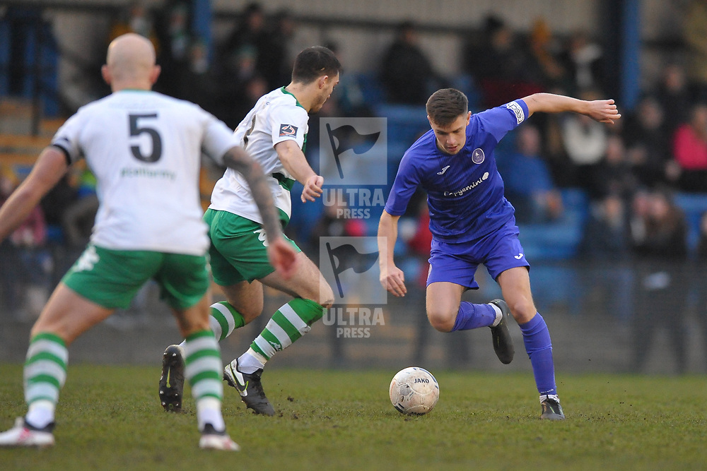 TELFORD COPYRIGHT MIKE SHERIDAN Ryan Barnett of Telford during the Vanarama Conference North fixture between AFC Telford United and Farsley Celtic at The Citadel on Saturday, January 25, 2020.<br /> <br /> Picture credit: Mike Sheridan/Ultrapress<br /> <br /> MS201920-042
