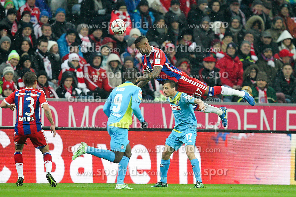 27.02.2015, Allianz Arena, Muenchen, GER, 1. FBL, FC Bayern Muenchen vs 1. FC K&ouml;ln, 23. Runde, im Bild l-r: im Zweikampf, Aktion, mit Rafinha #13 (FC Bayern Muenchen), Anthony Ujah #9 (1. FC Koeln), Jerome Boateng #17 (FC Bayern Muenchen) und Slawomir Peszko #17 (1. FC Koeln) // during the German Bundesliga 23rd round match between FC Bayern Munich and 1. FC K&ouml;ln at the Allianz Arena in Muenchen, Germany on 2015/02/27. EXPA Pictures &copy; 2015, PhotoCredit: EXPA/ Eibner-Pressefoto/ Kolbert<br /> <br /> *****ATTENTION - OUT of GER*****