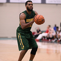 5th year forward Brian Ofori (11) of the Regina Cougars during the Men's Basketball home game on January 27 at Centre for Kinesiology, Health and Sport. Credit: Arthur Ward/Arthur Images