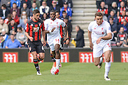 Bournemouth FC midfielder (6) Andrew Surman and Liverpool striker (54) Sheyi Ojo during the Barclays Premier League match between Bournemouth and Liverpool at the Goldsands Stadium, Bournemouth, England on 17 April 2016. Photo by Mark Davies.