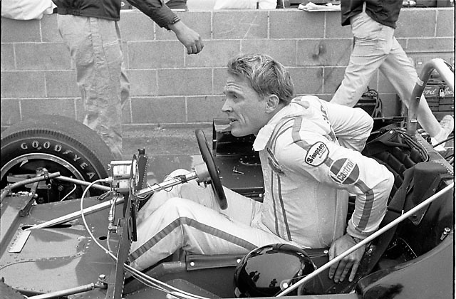 """Dan Gurney in his """"McLeagle"""" (McLaren M6B modified by AAR) at the 1969 Riverside Can-Am"""