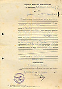 Germany: Copy of a birth registration, dated 1940, for a man born in 1896. Documents like this were used to establish Aryan ancestry.