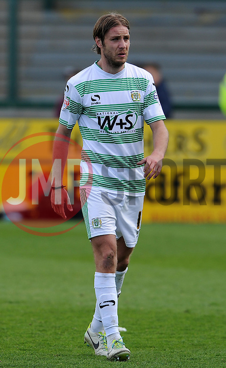 Dejection for Yeovil Town's Sam Foley as he appears to be close to tears. - Photo mandatory by-line: Harry Trump/JMP - Mobile: 07966 386802 - 11/04/15 - SPORT - FOOTBALL - Sky Bet League One - Yeovil Town v Notts County - Huish Park, Yeovil, England.