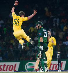© licensed to London News Pictures. 19/03/2011. Brett Lee celebrates his second wicket in a row getting Misbah-ul-Haq out for a duck during the I.C.C World Cup match between Australia and Pakistan at R.Premadasa Stadium in Colombo, Sri Lanka today (19/03/2011). Photo Credit should read: Asanka Brendon Ratnayake/LNP
