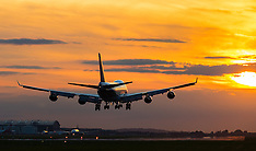 2015-09-19 Aviation Stock: Fiery sunset as planes land at Heathrow Airport