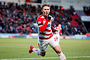 Doncaster Rovers midfielder Kieran Sadlier (22) celebrates his goal 3-1 during the EFL Sky Bet League 1 match between Doncaster Rovers and Peterborough United at the Keepmoat Stadium, Doncaster, England on 9 February 2019.