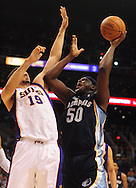 Nov. 5 2010; Phoenix, AZ, USA; Memphis Grizzlies forward Zach Randolph (50) puts up a shot during the first half against Phoenix Suns forward Hedo Turkoglu (19) at the US Airways Center. Mandatory Credit: Jennifer Stewart-US PRESSWIRE.