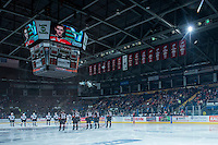 KELOWNA, CANADA - FEBRUARY 28: The Kelowna Rockets line up against the Calgary Hitmen on February 28, 2015 at Prospera Place in Kelowna, British Columbia, Canada.  (Photo by Marissa Baecker/Shoot the Breeze)  *** Local Caption *** crowd; fans;