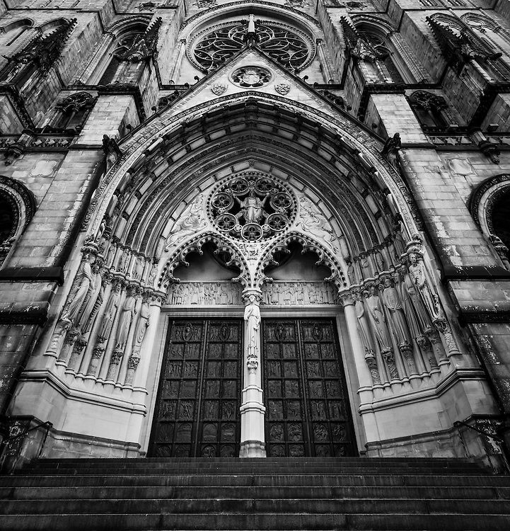 Gritty Black And White Image Of The Entrance Cathedral Church Saint John