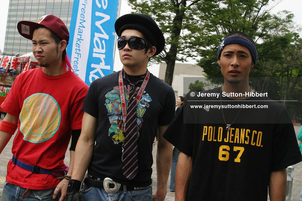 Young males with a sense of fashion in Yoyogi Park, near Harajuku, Tokyo, Japan