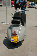 vintage Vespa motorbike, Tel Aviv fair grounds and convention centre, Israel,
