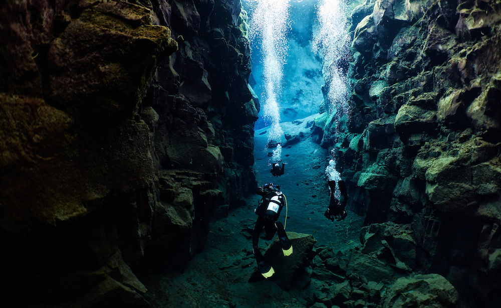 Diving between continental plates in Silfra, Iceland.