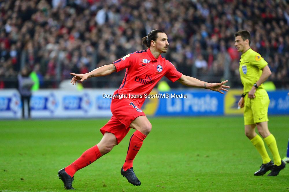 Joie Zlatan IBRAHIMOVIC - 11.04.2015 -  Bastia / PSG - Finale de la Coupe de Ligue 2015<br />Photo : Dave Winter / Icon Sport