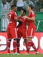 Fotball<br /> Tyskland<br /> 21.07.2013<br /> Foto: Witters/Digitalsport<br /> NORWAY ONLY<br /> <br /> 0:3 Jubel v.l. Jerome Boateng, Thiago Alcantara, Daniel van Buyten (Bayern)<br /> <br /> Fussball Telekom Cup 2013, Finale, Borussia Mönchengladbach - FC Bayern München