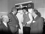 07/01/1983.01/07/1983.7th January 1983.The Aer Lingus Young Scientist Exhibition at the RDS, Dublin...Picture shows L-R Michael Dargan, Chairman of Aer Lingus, Garrett Fitzgerald, Taoiseach, Timothy Hickey from Colaiste De La Salle, Macroom, Co. Cork, winner of the Individual project- 'Ecological Study to Save the Garragh - A Rare Freshwater Habitat' and David Kennedy, Chief Executive of Aer Lingus. ..