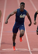 Christian Grubb of Sherman Oaks Notre Dame wins the 100m in 10.58 during the 2019 CIF Southern Section Masters Meet in Torrance, Calif., Saturday, May 18, 2019.