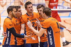 14-04-2019 NED: Achterhoek Orion - Draisma Dynamo, Doetinchem<br /> Orion win the fourth set and play the final round against Lycurgus. Dynamo won 2-3 / Peter Ogink #6 of Orion, Pim Kamps #7 of Orion, Wessel Anker #2 of Orion, Shalev Saada #5 of Orion, Joris Marcelis #4 of Orion
