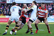 Wasps centre Brendan Macken battles with Gloucester winger Charlie Sharples during the Aviva Premiership match between Gloucester Rugby and Wasps at the Kingsholm Stadium, Gloucester, United Kingdom on 24 February 2018. Picture by Alan Franklin.