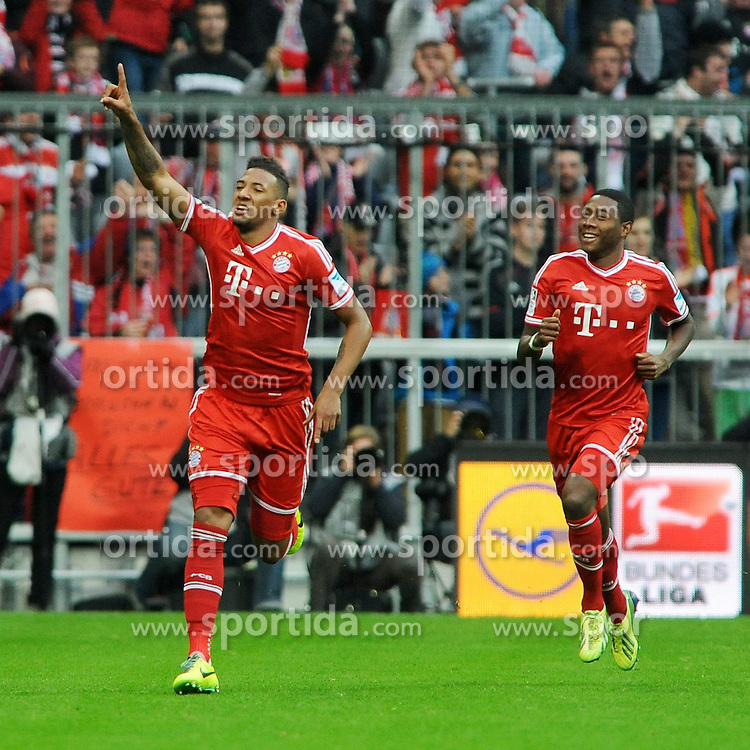 09.11.2013, Allianz Arena, Muenchen, GER, 1. FBL, FC Bayern Muenchen vs FC Augsburg, 12. Runde, im Bild Jerome Boateng (FC Bayern Muenchen) freut sich ueber sein Tor zum 1:0--- Rechts David Alaba (FC Bayern Muenchen) // during the German Bundesliga 12th round match between FC Bayern Munich and FC Augsburg at the Allianz Arena in Muenchen, Germany on 2013/11/09. EXPA Pictures &copy; 2013, PhotoCredit: EXPA/ Eibner-Pressefoto/ Stuetzle<br /> <br /> *****ATTENTION - OUT of GER*****