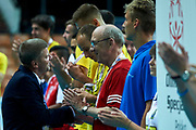 Katowice, Poland - 2017 September 01: (L) Krzysztof Krukowski (Director Organizational Development Europe Eurasia Region Special Olympics) and (R) former volleyball player Stanislaw Gosciniak from Poland (he won gold medal World Championships in Mexico 1974) attends in All Stars Game while Opening Ceremony during European Unified Volleyball Tournament 2017 at Spodek Hall on September 01, 2017 in Katowice, Poland.<br /> <br /> Adam Nurkiewicz declares that he has no rights to the image of people at the photographs of his authorship.<br /> <br /> Picture also available in RAW (NEF) or TIFF format on special request.<br /> <br /> Any editorial, commercial or promotional use requires written permission from the author of image.<br /> <br /> Image can be used in the press when the method of use and the signature does not hurt people on the picture.<br /> <br /> Mandatory credit:<br /> Photo by &copy; Adam Nurkiewicz / Mediasport