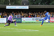 Tom Elliott of AFC Wimbledon scores during the Sky Bet League 2 match between AFC Wimbledon and Cambridge United at the Cherry Red Records Stadium, Kingston, England on 18 August 2015. Photo by Stuart Butcher.
