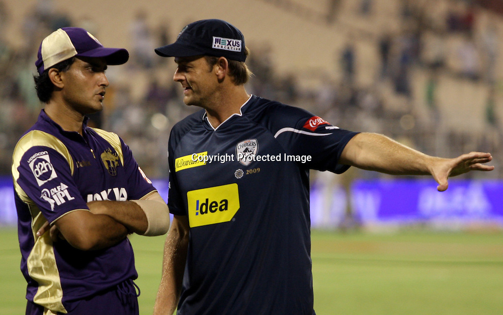 Kolkata Knight Riders Captain Souran Ganguly And Deccan Chargers Captain Adam Gilcrist During Kolkata Knight Riders vs Deccan Chargers Match In Indian Premier League - 30th match Twenty20 match | 2009/10 season Played at Eden Gardens, Kolkata  1 April 2010 - day/night (20 over match)