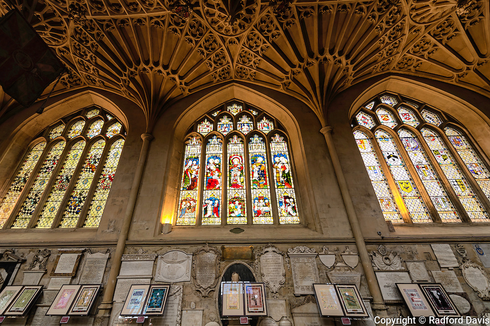 Bath Abbey, stained glass windows, UK