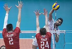 URMIA, June 17, 2019  Milad Ebadipour (R) of Iran spikes during the FIVB Volleyball Nations League match between Iran and Russia in Urmia, Iran, June 16, 2019. (Credit Image: © Ahmad Halabisaz/Xinhua via ZUMA Wire)