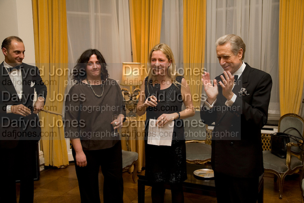 Dr. Luigi  Maramotti, Hannah Rickards,Iwona Blazwick and the Italian Ambassador, Dinner at the Italian Embassy in which the winner of the MaxMara Art Prize ( in collaboration with the Whitechapel art gallery )for Women is announced. Grosvenor Sq. London. 29 January 2008.  -DO NOT ARCHIVE-© Copyright Photograph by Dafydd Jones. 248 Clapham Rd. London SW9 0PZ. Tel 0207 820 0771. www.dafjones.com.