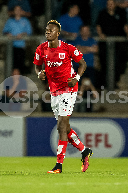 Bristol City goalscorer Tammy Abraham during the EFL Cup second round match between Scunthorpe United and Bristol City at Glanford Park, Scunthorpe, England on 23 August 2016. Photo by James Williamson.