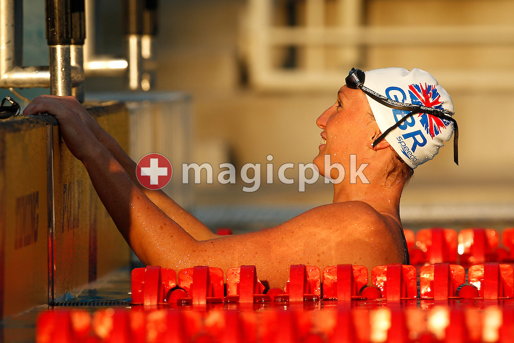 Gemma SPOFFORTH of Great Britain is pictured during her cooling down after winning the women's 100m Backstroke Final at the European Swimming Championship at the Hajos Alfred Swimming complex in Budapest, Hungary, Thursday, Aug. 12, 2010. (Photo by Patrick B. Kraemer / MAGICPBK)