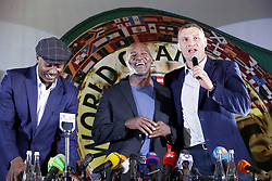 October 2, 2018 - Kyiv, Ukraine - WBC Eternal World Heavyweight Champion, Kyiv city head Vitali Klitschko, American retired professional boxer, four-time world heavyweight champion Evander Holyfield and British former professional boxer, three-time world heavyweight champion Lennox Lewis (R to L) face the press during a session to sign autographs held on the sidelines of the 56th Convention of the World Boxing Council (WBC) in Kyiv, capital of Ukraine, October 2, 2018. Ukrinform. (Credit Image: © Pavlo_bagmut/Ukrinform via ZUMA Wire)