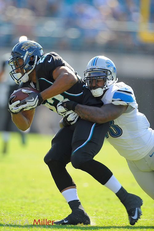 Detroit Lions linebacker Ashlee Palmer (58) tackles Jacksonville Jaguars running back Rashad Jennings (23) during the Lions 31-14 win at EverBank Field on November 4, 2012 in Jacksonville, Florida. ..©2012 Scott A. Miller..