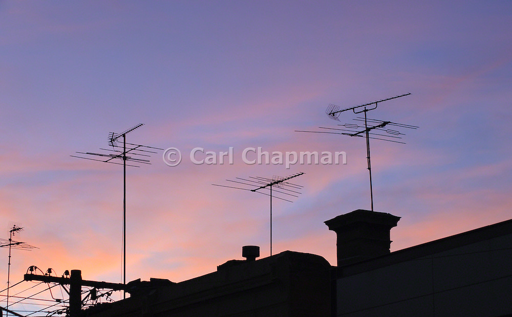 Television TV Antennas at Sunset - Melbourne, Australia