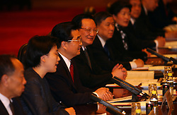 Hu Jintao the President of China at the Grand Palace of the People on Tiananmen Square.