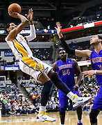 March 30, 2011; Indianapolis, IN, USA; Indiana Pacers forward Danny Granger (33) shoots a fade away jumper against the Detroit Pistons at Conseco Fieldhouse. Mandatory credit: Michael Hickey-US PRESSWIRE