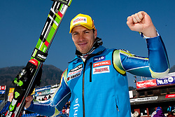 Best Slovenian skier 6th placed Mitja Valencic after the Men's Slalom of FIS Ski World Cup Alpine Kranjska Gora, on March 6, 2011 in Vitranc/Podkoren, Kranjska Gora, Slovenia.  (Photo By Vid Ponikvar / Sportida.com)