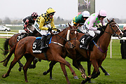 Faugheen and Ruby Walsh (4) lead the field from Melon and P Townend (5) and Buveur D'Air and Barry Geraghty (2)3.25pm The Betway Aintree Hurdle (Grade 1) 2m 4fduring the Grand National Festival Week at Aintree, Liverpool, United Kingdom on 4 April 2019.