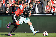 23-10-2016: Voetbal: Feyenoord v Ajax: Rotterdam<br /> <br /> (L-R) Feyenoord speler Bilal Basacikoglu, Ajax speler Aminn Younes tijdens het Eredivsie duel tussen Feyenoord en Ajax op 23 oktober in stadion Feijenoord (de Kuip) tijdens speelronde 10<br /> <br /> Eredivisie - Seizoen 2016 / 2017<br /> <br /> Foto: Gertjan Kooij