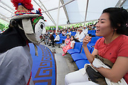 Seoul Nori Madang open-air folcloric theatre. Drummers and dancers from Jindo. Traditional wooden mask dancers.