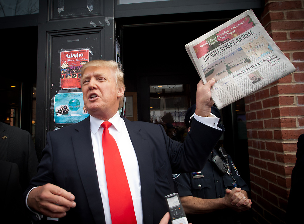 Donald Trump rails against an article in the Wall Street Journalabout Afghan President Hamid Karzai being told to dump the US. Real Estate Mogul, TV Star and Presidential hopeful Donald Trump makes a visit to Portsmouth, NH for meetings and a meet and greet as he walks around Downtown Portsmouth.