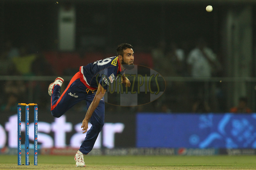 Imran Tahir of the Delhi Daredevils sends down a delivery during match 21 of the Pepsi IPL 2015 (Indian Premier League) between The Delhi Daredevils and The Mumbai Indians held at the Ferozeshah Kotla stadium in Delhi, India on the 23rd April 2015.<br /> <br /> Photo by:  Shaun Roy / SPORTZPICS / IPL