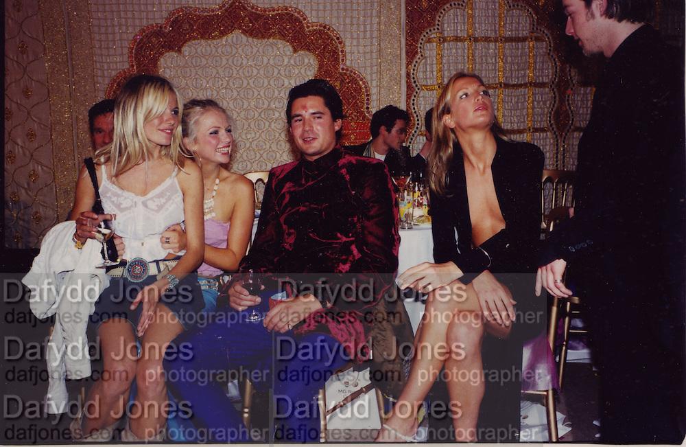 Sienna Miller, Hannah Sandling, Edward taylor, Emily Compton, Indian Palace Ball, St. James's Sq. London. 8 July 2002,