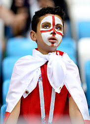 A young England fan in the stands before the FIFA World Cup, Quarter Final match at the Samara Stadium.