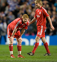 LONDON, ENGLAND - Wednesday, April 30, 2008: Liverpool's John Arne Riise looks dejected as his side are knocked-out by Chelsea during the UEFA Champions League Semi-Final 2nd Leg match at Stamford Bridge. (Photo by David Rawcliffe/Propaganda)
