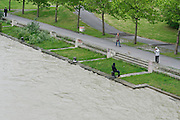 Vienna, Austria. The Danube reaches its highest level since the heavy flooding in 2002. People take the opportunity to have a look.