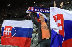 Fans of Slovakia celebrate during 21st Men's World Handball Championship 2009 Main round Group I match between National teams of Slovakia and Korea, on January 24, 2009, in Arena Zagreb, Zagreb, Croatia.  (Photo by Vid Ponikvar / Sportida)