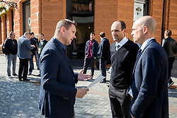Tomaz Ambrozic of Sport Media Focus  and Tobias Frike of Volkswagen car company during presentation of VW Volkswagen as an official mobility partner of Futsal EURO 2018 in Ljubljana, Slovenia, on September 28, 2017. Photo by Vid Ponikvar / Sportida